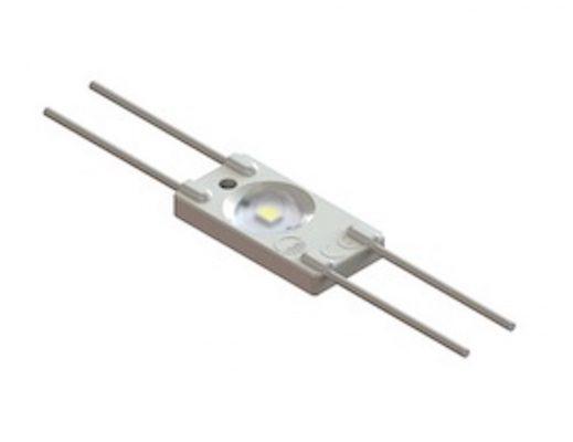 LED modulis, 12V, 0.36W, 1xSMD2835 35lm, 6250K, su lęšiu 160°, IP67